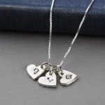 silver personalised hearts pendant