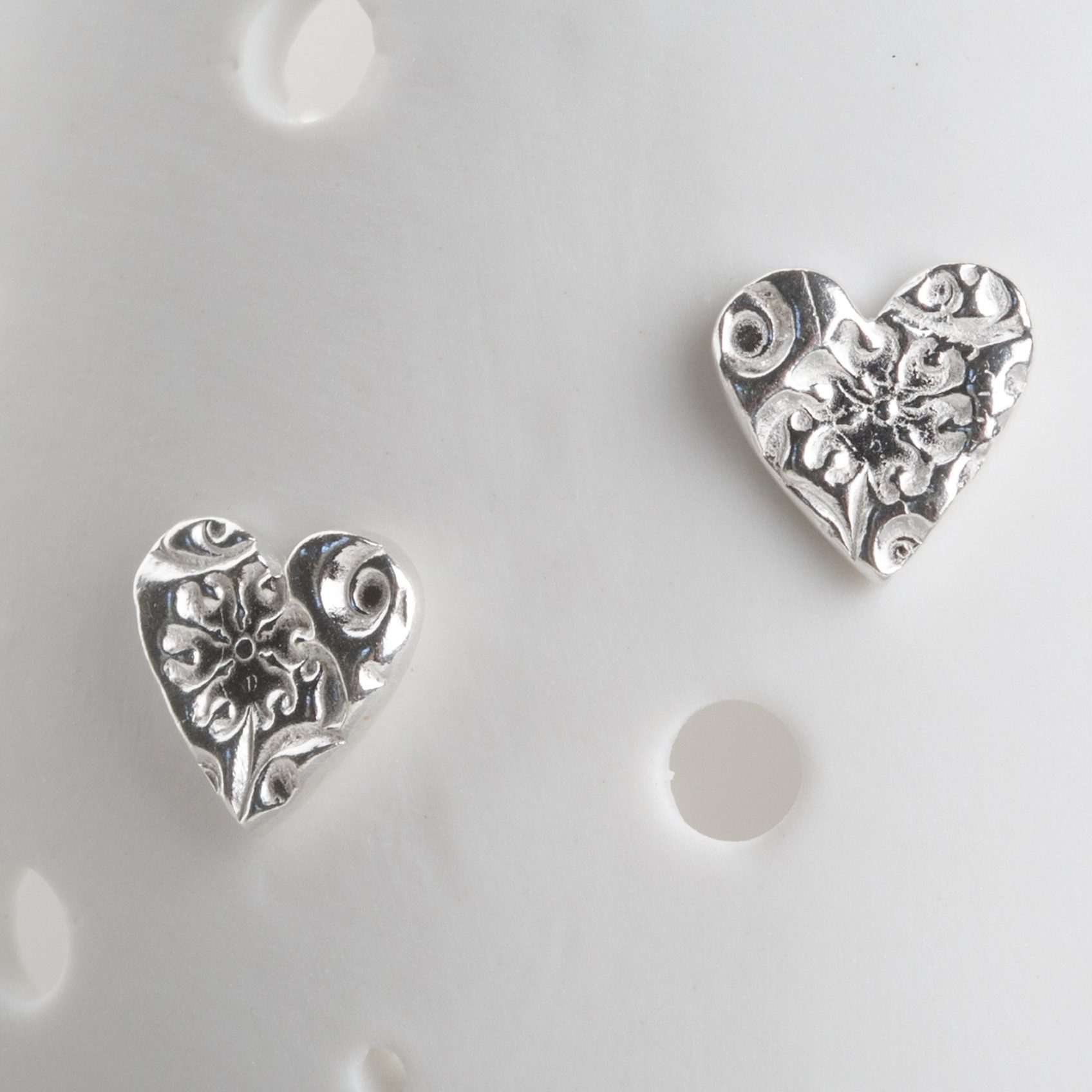 Cherry blossom silver heart studs, floral studs, silver heart earrings