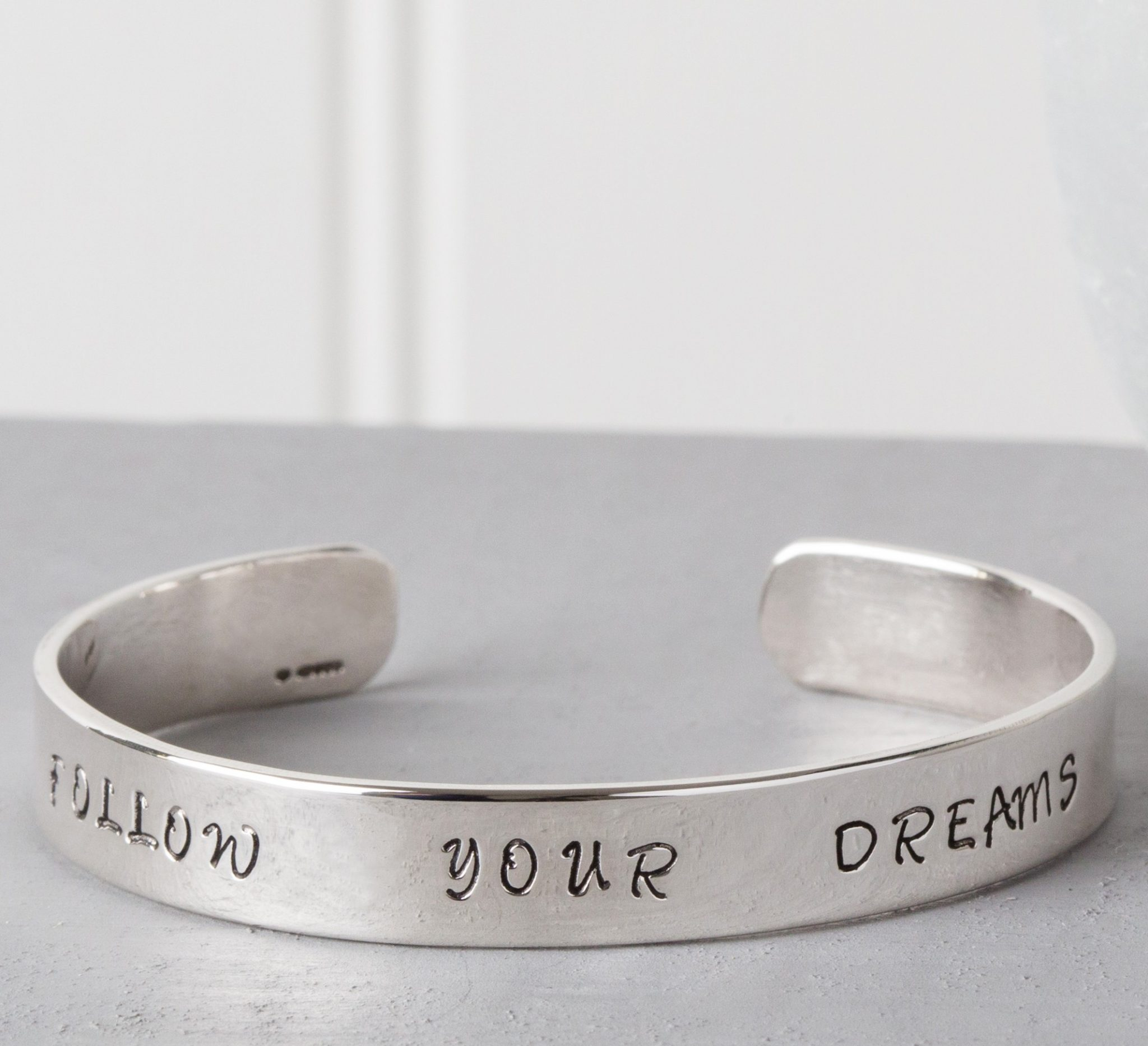 personalised message cuff bangle