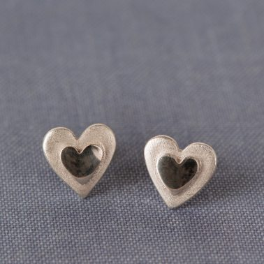 double heart stud earrings