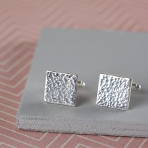 sterling silver hammered cufflinks