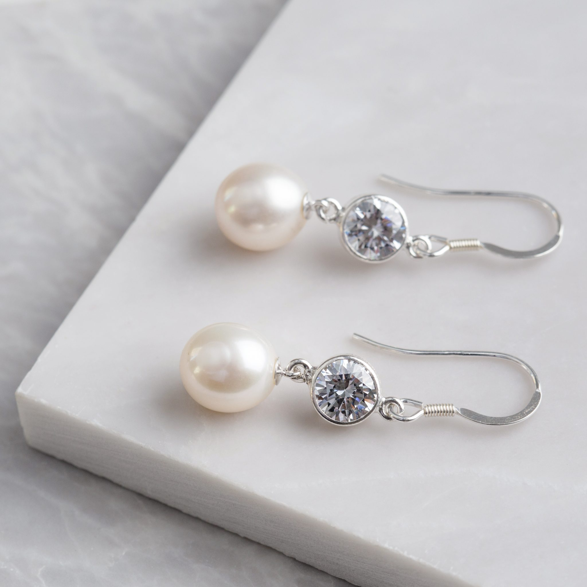 sparkle and freshwater pearl earrings