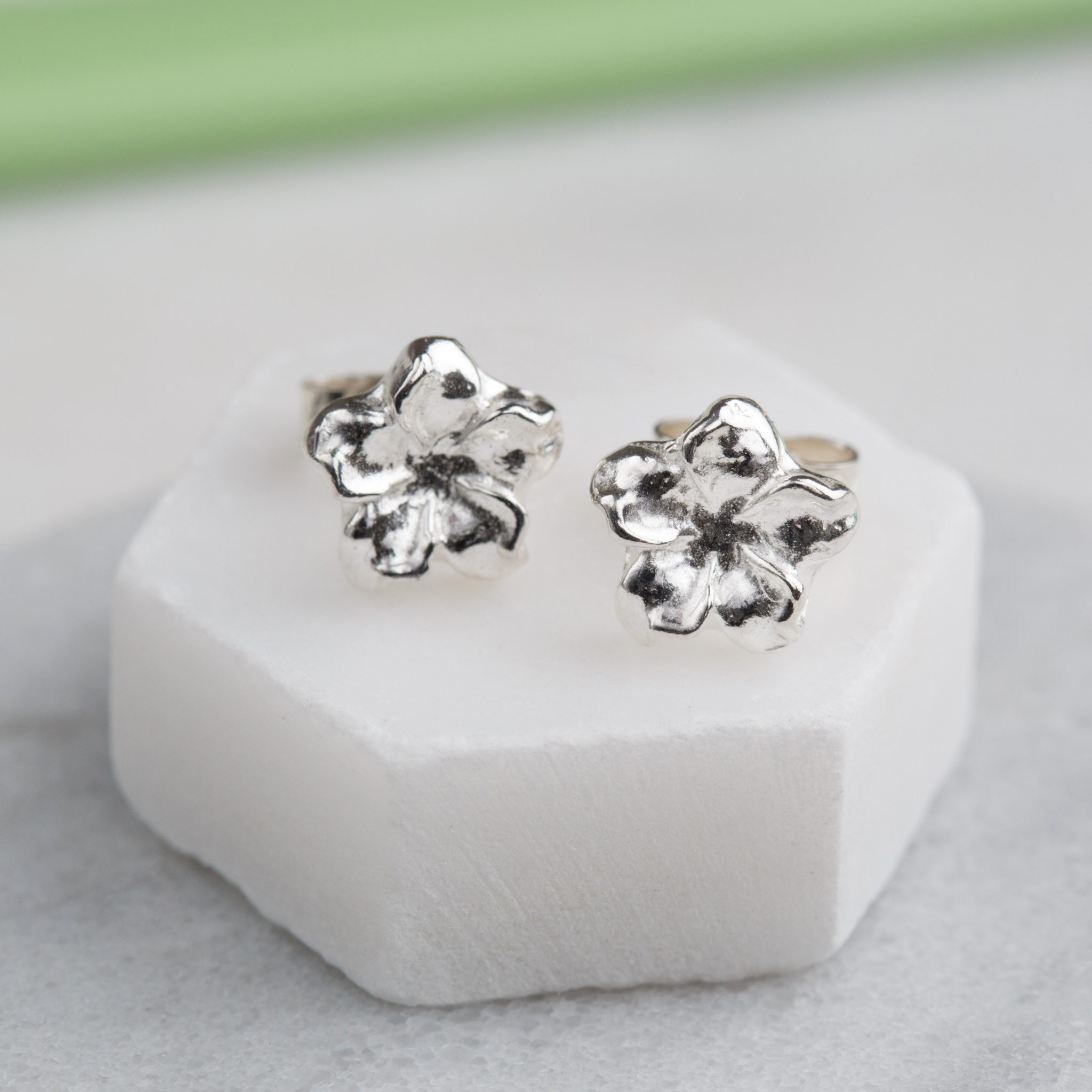 flower stud earrings sterling silver