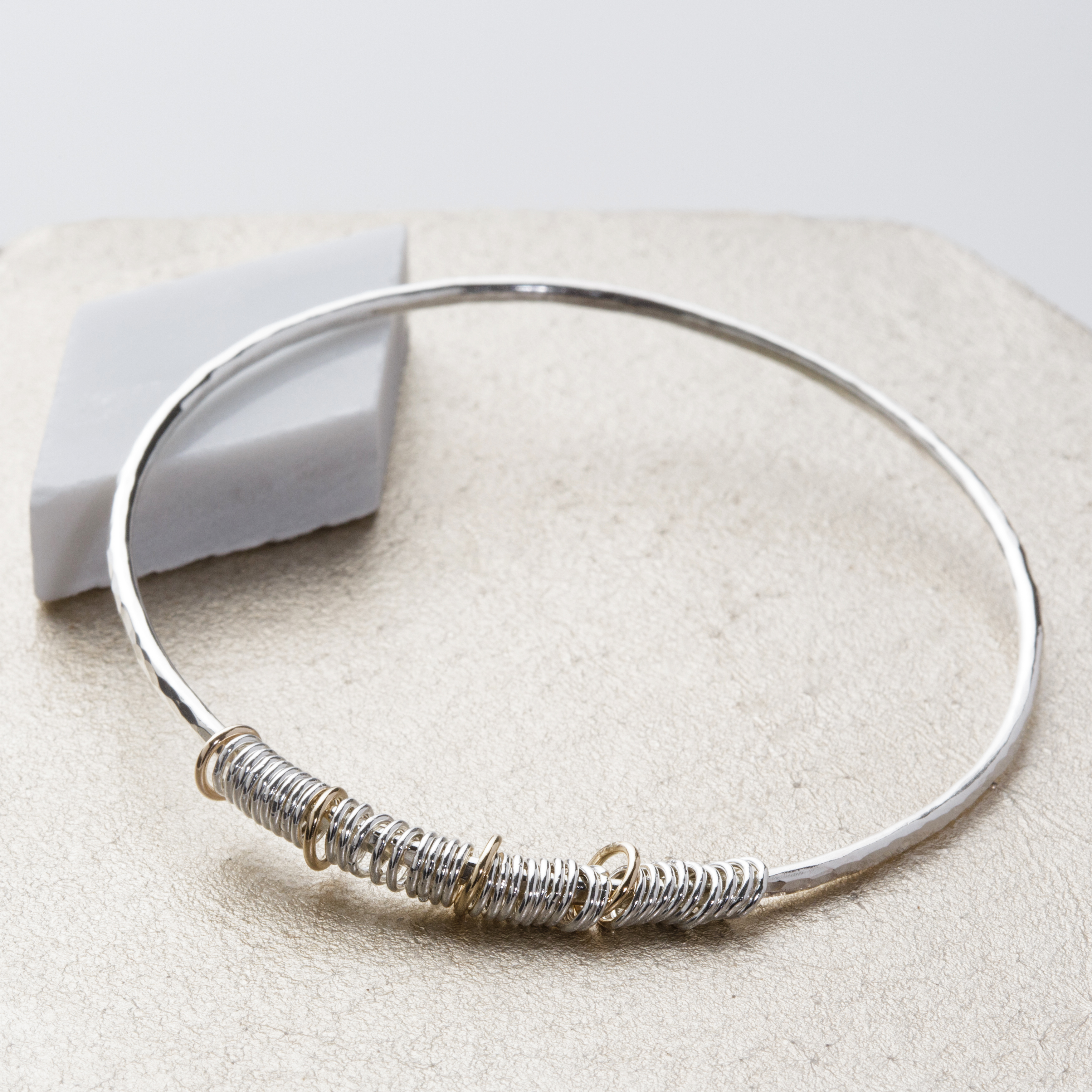 sterling silver and gold ring bangle
