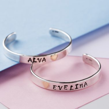 Sterling silver personalised baby cuff bangle with 9ct gold heart