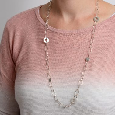 Sterling silver links statement necklace with personalised silver discs.