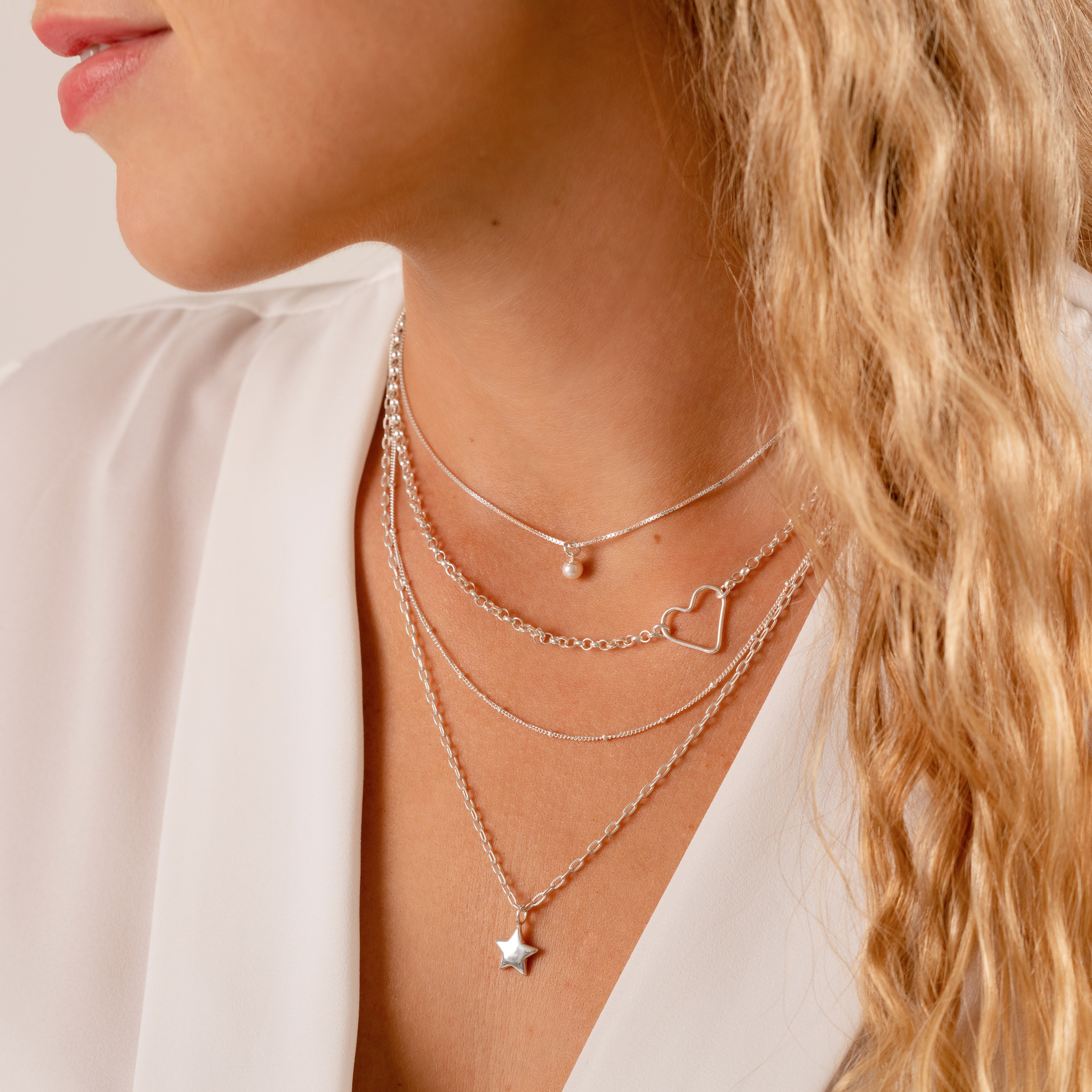 Sterling silver 4 layer heart and star necklace with pearl – with detachable 4th chain
