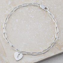 Personalised sterling silver heart bracelet