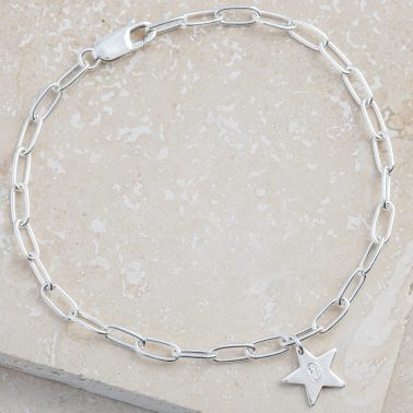 Personalised sterling silver star bracelet